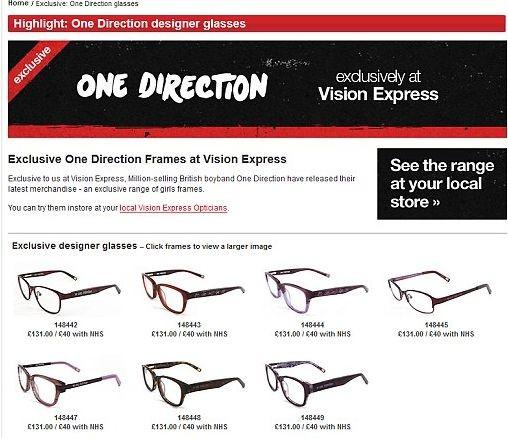 One Direction выпустили очки для девочек