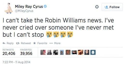 Знаменитости скорбят о Робине Уильямсе