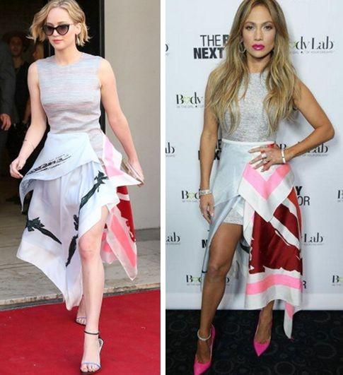 Дженнифер Лоуренс и Дженнифер Лопес в платье Christian Dior