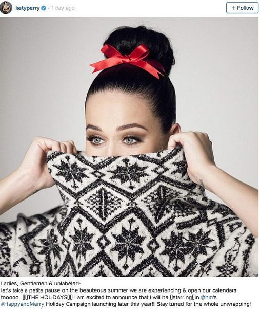 Кэти Перри примет участие в рождественской рекламе H&M
