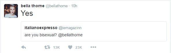 Белла Торн подтвердила свою бисексуальность