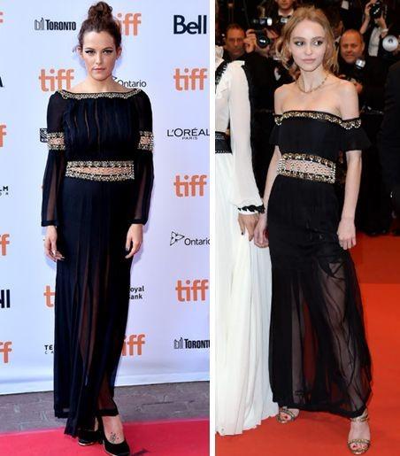 Лили-Роуз Депп и Райли Кио в платье Chanel