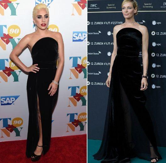 Ума Турман и Леди Гага в платье Brandon Maxwell