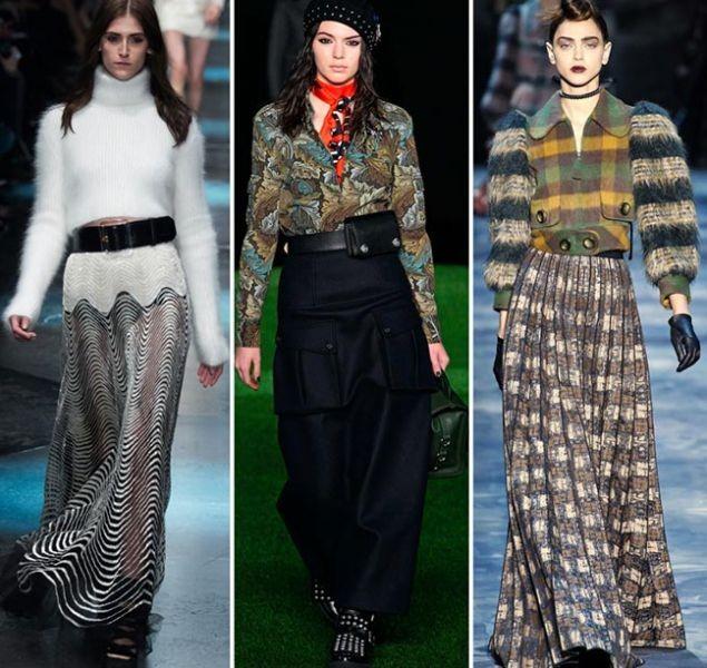 Длинная юбка на модном подиуме