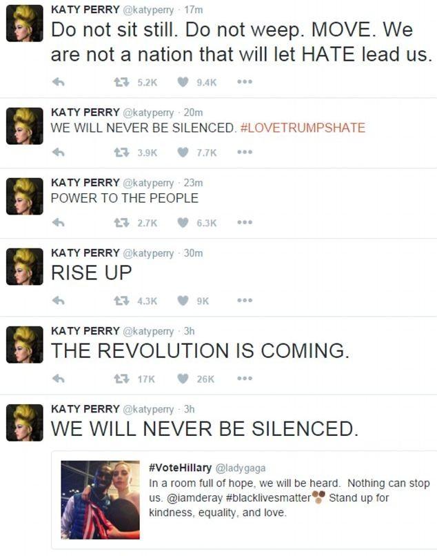 Леди Гага протестует на улице, а Кэти Перри призывает к революции: как знаменитости отреагировали на победу Дональда Трампа