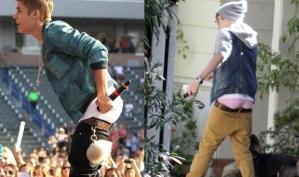 Джастин Бибер чуть не остался без штанов на сцене