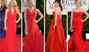 Тренды Золотого глобуса 2013: бежевый, красный и... нога Анджелины Джоли