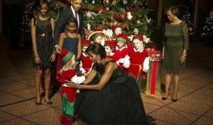 Мишель Обама в винтажном платье для Рождества