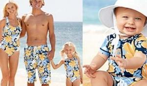 Пляжная мода: вся семья в одинаковых купальниках